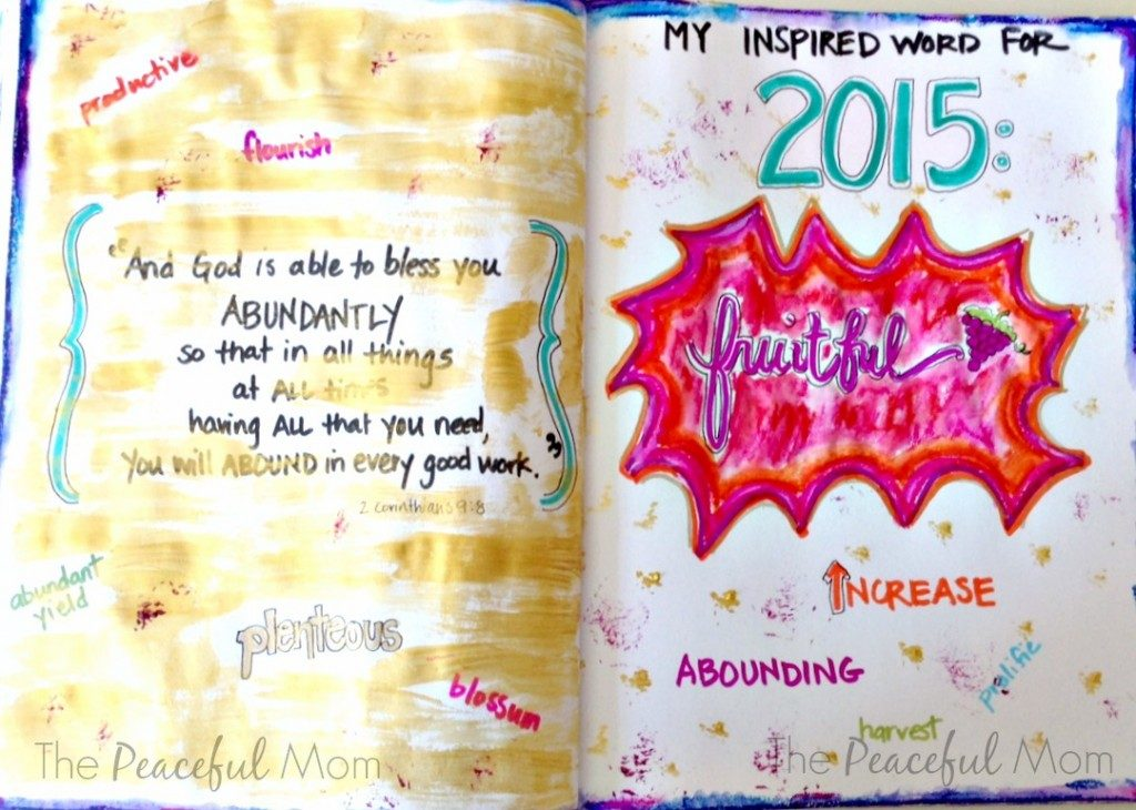 2015-inspired-word-of-the-year-art-journal-page-the-peaceful-mom-1024x730