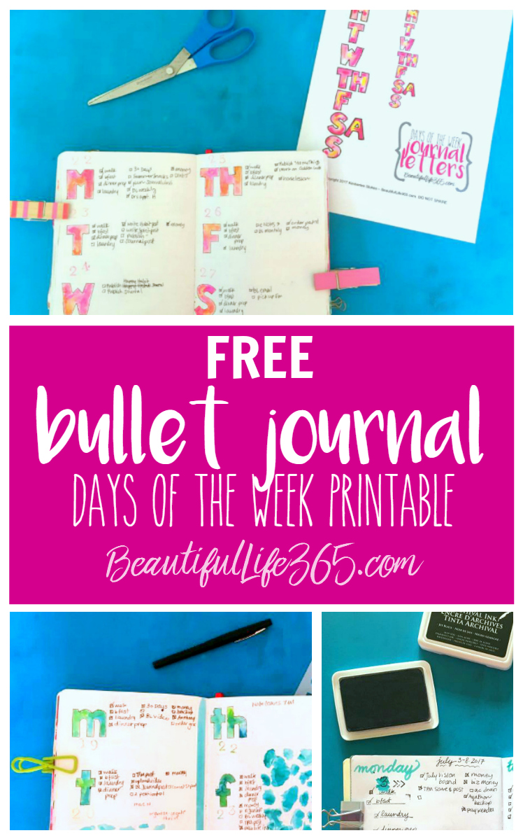 image relating to Printable Days of the Week named Absolutely free Bullet Magazine Times of the 7 days Printable